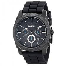 fossil fs4487 machine chronograph black silicone watch for men