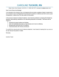 Best Intensive Care Unit Registered Nurse Cover Letter Examples