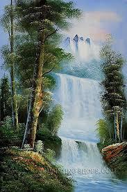 framed art reion oil famous landscape painting mountain sierra waterfall size 24 x