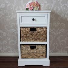 cream wicker storage unit one drawer two baskets