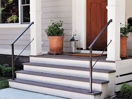 classic metal handrails for porch steps