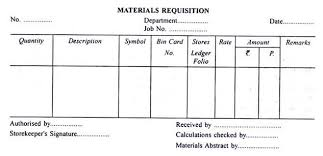 Issue Of Materials Requisition Slip And Bill Of Materials