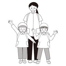 かわいい子供と先生遠足 白黒モノクロ無料 イラスト 商用