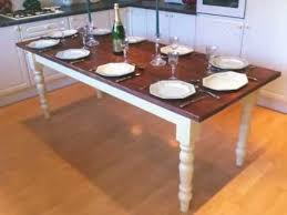 7ft dining table: ft shabby chic hand painted  seater farmhouse kitchen table dining table
