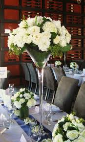 tall wedding centrepieces martini glass - Google Search  White Flower  ArrangementsFloral ...