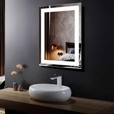 Full Size Mirror With Lights Amazon Com Bhbl Led Lighted Bathroom Vanity Mirror