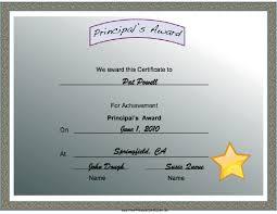Principal Award Certificate You Win A Shiny Gold Star With This Principals Award