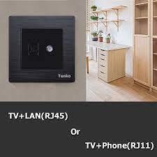 Ổ Cáp Đồng Trục Tivi + LAN(RJ45) Âm Tường Chính Hãng Tenko