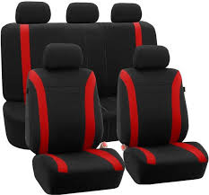 fh fb054115 cosmopolitan flat cloth seat covers airbag compatible and split bench fit most car truck suv or van red fb054red115