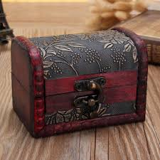 Small Decorative Wooden Boxes Vintage Small Decor Wooden Box With Lock Jewelry Bracelet Holder 12
