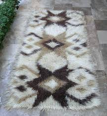 rug runner vintage gy off white beige brown carpet handwoven wool furniture village s
