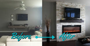 before and after diy electric fireplace