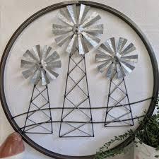 windmill trio round metal wall art