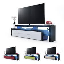Tv Stand Unit Board Lowboard Cabinet Leon V2 Black High Gloss