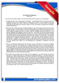 Free Printable Job Applicant Rejection Letter Form Generic