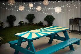 painted table ideasDIY Sunburst Painted Picnic Table  The Home Depot Blog