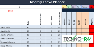 Leave Planner Team Leave Plan Calendar Template Project