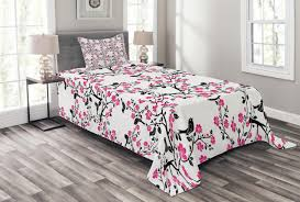 cherry blossom bedspread set sakura tree with flourishing flowers and birds black silhouettes decorative quilted coverlet set with pillow shams included