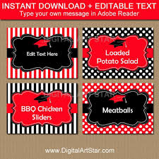 Table Labels Template Graduation Food Labels Candy Buffet Labels Name Cards