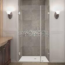 aston nautis 32 in x 72 in frameless hinged shower door in stainless steel