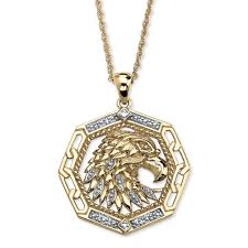 men s diamond accent 10k yellow gold eagle pendant
