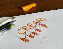 cream 3d lettering