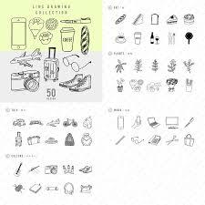 ライフスタイルにまつわるドローイング素材集線画イラストコレクション