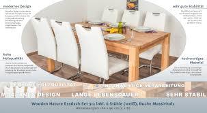 Wooden Nature Esstisch Set 312 Inkl 6 Stühle Weiß Buche
