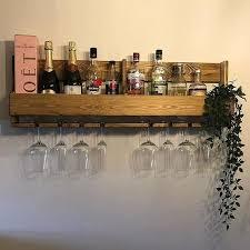 wall mounted home bar drinks rack gin