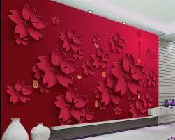 Beibehang 3D Wallpaper HD red flower ...