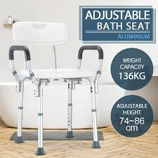 new adjule shower chair bath seat bathroom bench w padded armrests and back