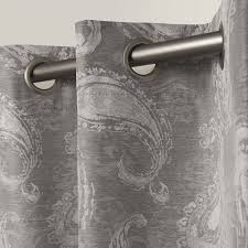 exclusive home bangalore paisley thermal grommet top window curtain panels 54 x 84 ash grey sold as set of 2 pair com