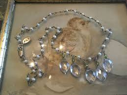antique vintage sterling necklace with faux pearls crystal drops marked f l d