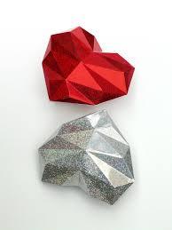 3D papercraft - Diamond <b>Heart</b> DIY - Templates - PDF - DXF