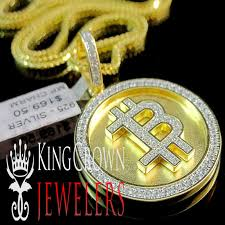 details about yellow gold tone real sterling silver bitcoin round pendant charm necklace chain