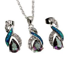 fire australian opal jewelry set 925 sterling silver earrings pendant necklace set modern 8 design beauty