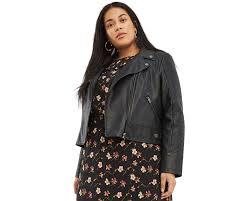 oasis women s black curve faux leather stitch biker jacket