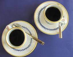 Decorative Cups And Saucers Fresh Brewed Italian Espresso In Decorative Cups And Saucers Stock 48