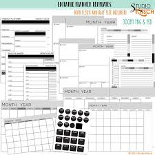 Editable Planner Pages Templates Printable 8 5x11 Etsy