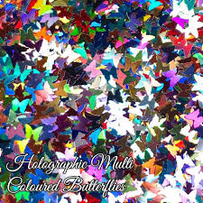 Holographic Multi Coloured Butterfly Shapes