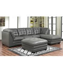 Top Grain Leather Living Room Set Sectionals Lawrence Top Grain Leather Sectional With Ottoman