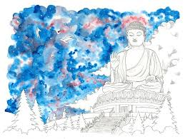 big buddha watercolor fine art print