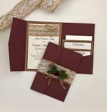 Winter Wedding Invitation Gorgeous Burgundy Pocket Folder With