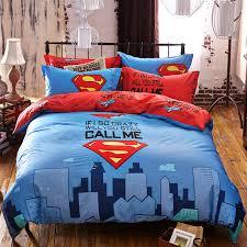 100 cotton superman kids 3d bedding set linen duvet cover queen bed sheet pillowcases 3