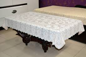 36 x 54 crosia lace vinyl centre tablecloth peach