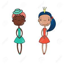 手には別の髪型肌の色の素敵なドレスに身を包んだ 2 つかわいい