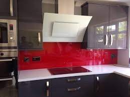 grey kitchen red splashback - Google Search