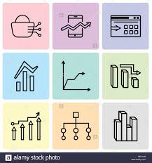 Stream Analysis Chart Set Of 9 Simple Editable Icons Such As Stream Graphic Flow