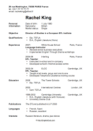 Cv Resume Sample Stunning Sample ResumeCV For English Teacher Business English EnglishClub