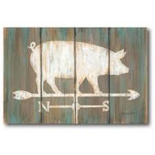farmhouse pig graphic art print on wrapped canvas on wooden pig wall art with pig wall art joss main